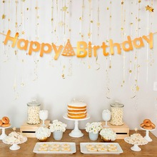 цена Gold Happy Birthday Banner Birthday Party Decoration Kids Adult Bunting Hang Garland Party Favor Supplies Baby Shower