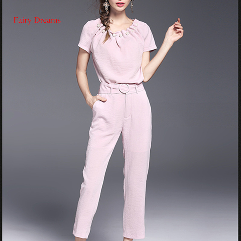 Fairy Dreams Two Piece Set Pink Blue Pant Suits Women's Costume Casual Ladies office Solid Clothing Beading Shirt And Trousers