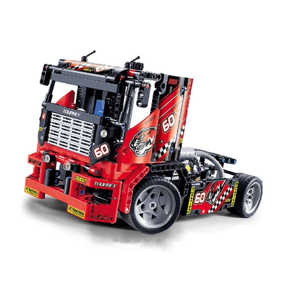 Race Truck Car Set Compatible With <font><b>Legoing</b></font> Technic Model Building Blocks 608 Pcs Bricks Boys Birthday Gifts Educational Toys image