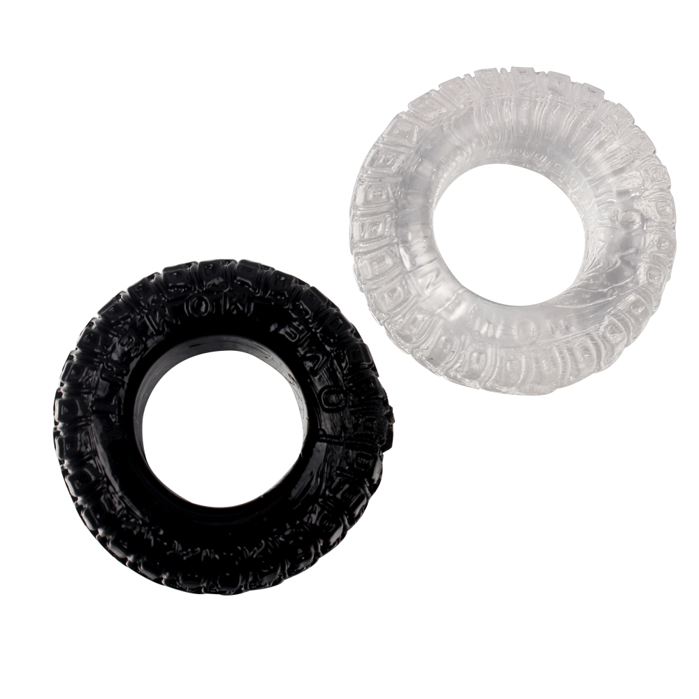 IKOKY 2Pcs/Set Tire Type Silicone Delay Ejaculation Cock Rings Black/Transparent Sex toys for Men Penis Rings Sex Cockring 11