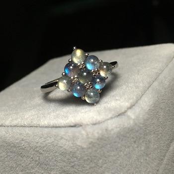 Anillo cuadrado de Plata de Ley 925, 9 piezas, anillos redondos de piedra lunar Natural, anillo de labradorita de piedras preciosas, accesorios para mujer, prueba