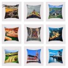Fuwatacchi Famous Scenic Cushion Cover Mountain  Soft Throw Pillow Decorative Sofa Case Pillowcase