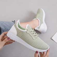 Discount 2019 New Women Shoes Flats Fashion Sneakers Flying Weaving Mesh Casual Low-cut Lace-Up Breathable Ladies Woman