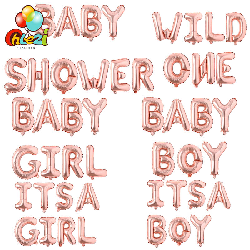 Rose Gold OH BABY Wild One Letter Foil Balloons 1st Birthday Decorations Boy Girl Shower Banner Gender Reveal In Ballons Accessories From