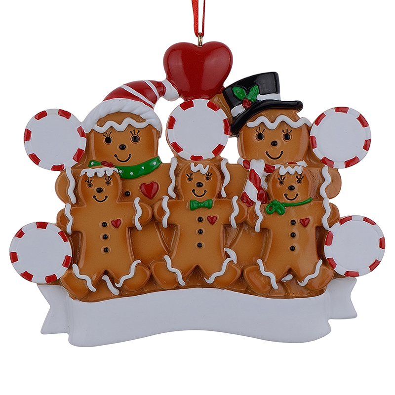 maxora gingerbread family of 5 resin hand painting christmas ornaments with red apple as personalized gifts for holiday party ho in pendant drop ornaments