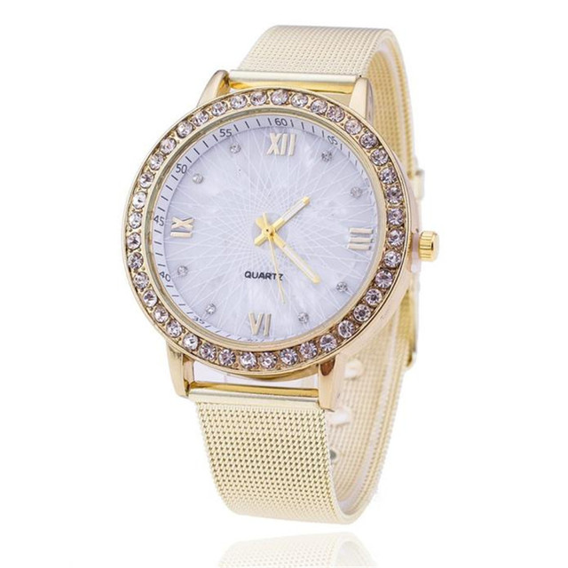 2018 Luxury Gold Watch Women Rhinestone Watch Ladies Fashion Dress Quartz Watch