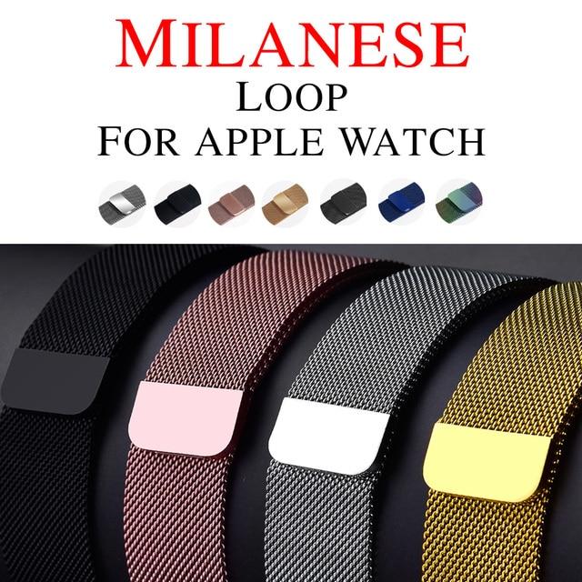 Миланская петля, ремешок для Apple Watch, 42 мм, 38 мм, сопутствующий браслет, ремешок с регулируемой магнитной застежкой с адаптером для iWatch версии 3 / 2
