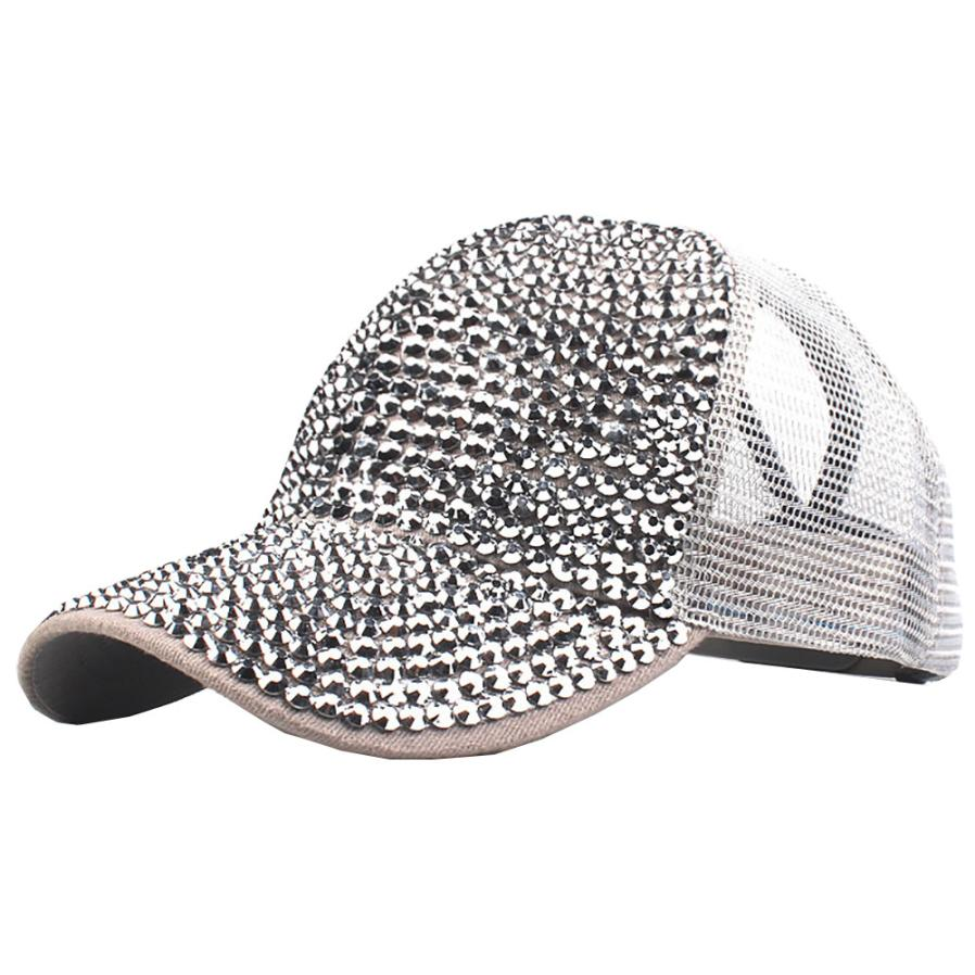 Women Tennis Caps Mesh Hat Quick-Dry Adjustable sports Cap Rhinestone Hats Female Baseball Tennis Hat Bling Diamond Hat