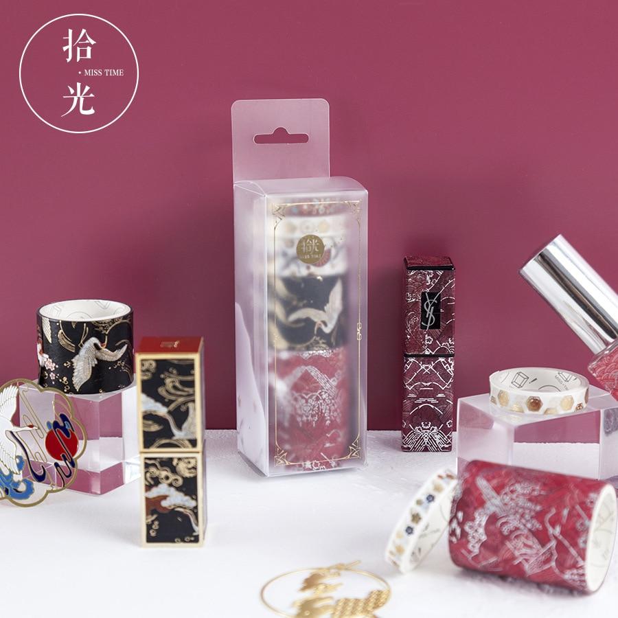 5pcs/pack Washi Tape Ancient Style Decorative Paper Masking Tape Diy Adhesive Scrapbook Sticker