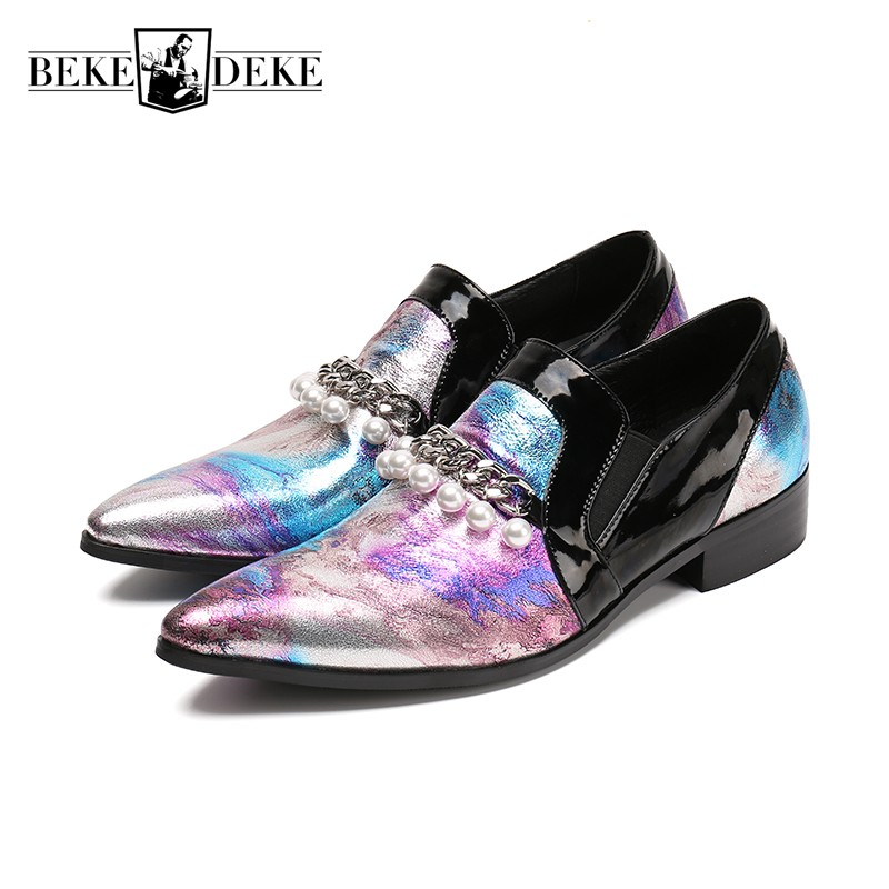 все цены на 2018 Spring Bridegroom Wedding Party Pearls Colors Dress Shoes Men Formal Footwear Genuine Leather Metal Night Club Rock Loafers онлайн
