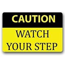 Entrance Floor Mat Non-slip Doormat Caution Watch Your Step Rubber Mat Non-woven Fabric Top 15.7x23.6 Inch цена
