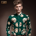 Free Shipping New fashion casual male men's 14212 spring and autumn green coin pattern printing men's casual shirt On Sale