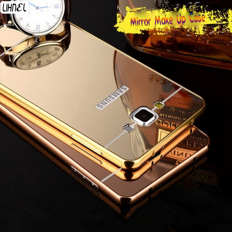 LIHNEL Mirror Effect Gilded Frame+Acrylic Hybrid Hard Case for Samsung Galaxy S4 S5 S8 S8 Plus J1 J3 J5 J7 2015 2016 2017 A310F