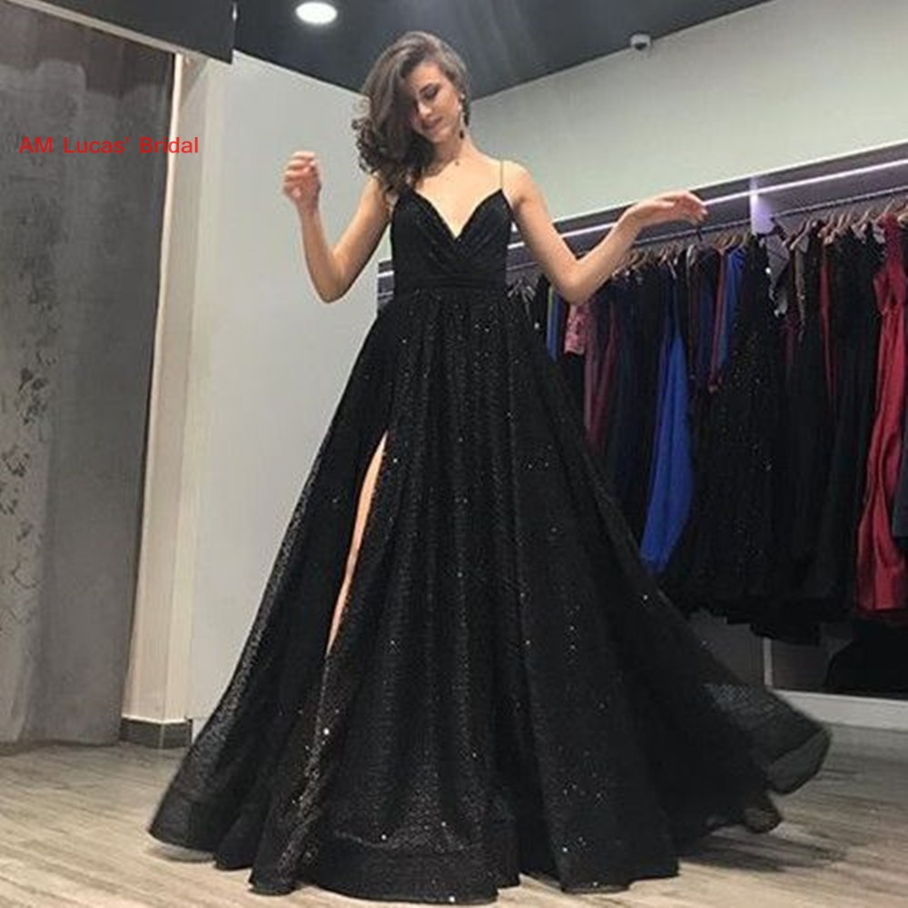 Sexy A Line   Evening     Dresses   Split Side 2019 New Women Formal Gown For Prom Wedding Party   Dresses   Robe De Soiree
