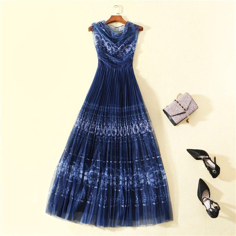 Brand Designer Runway Maxi Dress 2019 Spring Summer Women s Fashion Sleeveless Blue Print Long Pleated