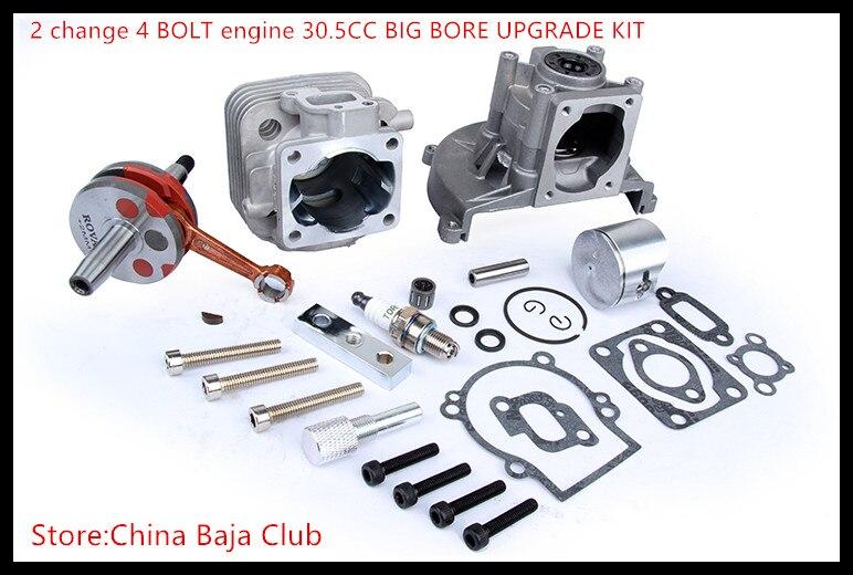 Baja parts 2 change 4 BOLT Engine 30.5CC BIG BORE UPGRADE KIT for 1/5 hpi baja 5b 5T km