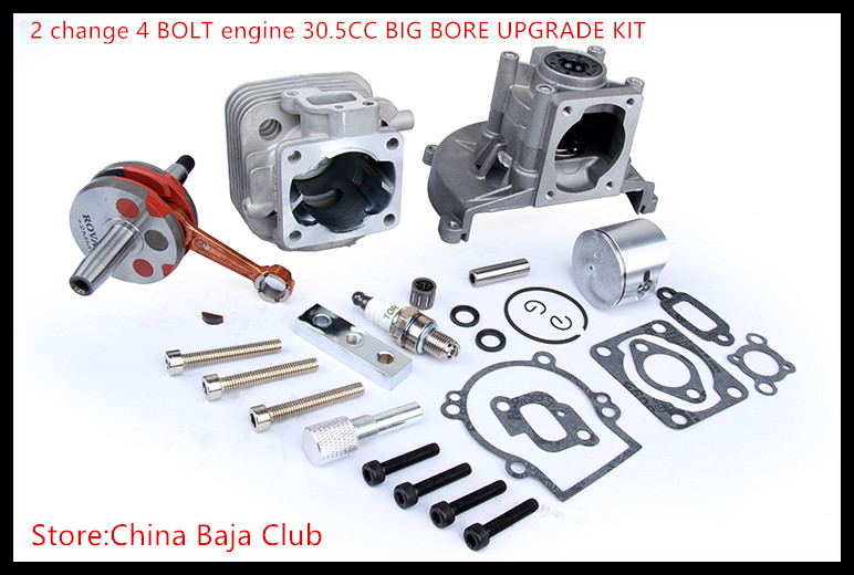 Baja parts 2 change 4 BOLT Engine 30.5CC BIG BORE UPGRADE KIT for 1/5 hpi baja 5b 5T km 27 5cc 2t 4 bolt gasoline engine walbro 668 carburetor ngk spark plug 7000 light clutch fits hpi baja 5b losi 5ive t redcat