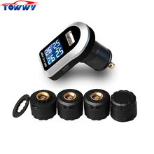 Professional car wireless tyre pressure monitoring system TPMS 4 external sensors LCD blue screen cigarette lighter