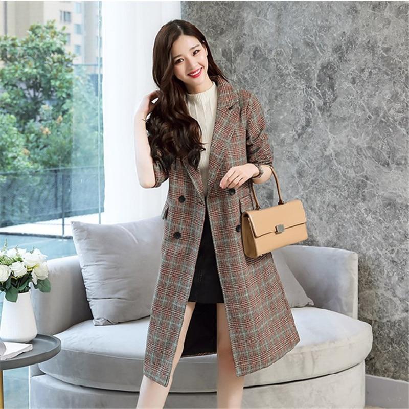 Pardessus Laine D'hiver Élégant Manteau Femmes Mode Casual Long Coréen rouge De Streetwear Noir Style Plaid HwZn7Spq