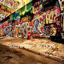 Street graffiti 8'x8′ CP Computer-painted Scenic Photography Background Photo Studio Backdrop HY-CM-2155