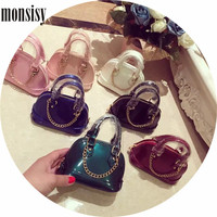 Fashion Girls Baby Toddler Metal Chain Messenger Bags Light PU Mini Coin Purses Handbags For Women