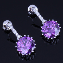 Amazing Round Purple Cubic Zirconia White CZ 925 Sterling Silver Stud Earrings For Women V0192
