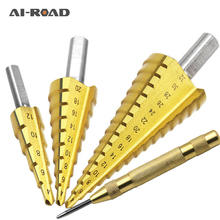1pcs 3-13mm HSS Titanium Coated Stepped Drill Power Tools Carbide Mini Bit Set  3-12mm 4-12mm 4-20mm