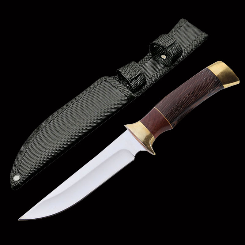 ToughKeng High Quality 440c Steel Tactical Hunting Fixed Blade Knives Wenge Wood Handle Sharp Outdoor Survival Knife(China)