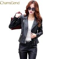 Chamsgend 2017 Korea Style Autumn Women Jacket Black Red Leather Bomber Jacket Women Coat Plus Size