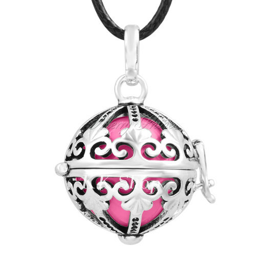 Беременность подарок для ребенка из черненого Медь в форме металлической птичьей клетки кулон ангел абонент Подвески 20 мм Музыкальный шар, гармония Bola кулон Цепочки и ожерелья H119 - Окраска металла: Pink