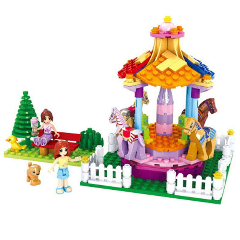 AUSINI 222pcs Princess Merry Children s Educational Building Blocks Assembled font b Legoe b font Plastic