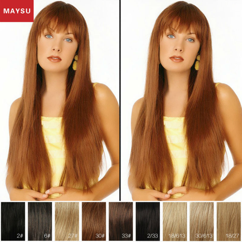 Long Straight Human Hair Wigs For Women Elegant MAYSU Neat Bang Classic Brazilian Blonde Virgin Hair  Human Braiding Hair Bulk