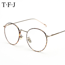 New Designer Woman Glasses Optical Frames Metal Round Frame Men Clear lens Eyeware Black Gold Pattern Eye Glass