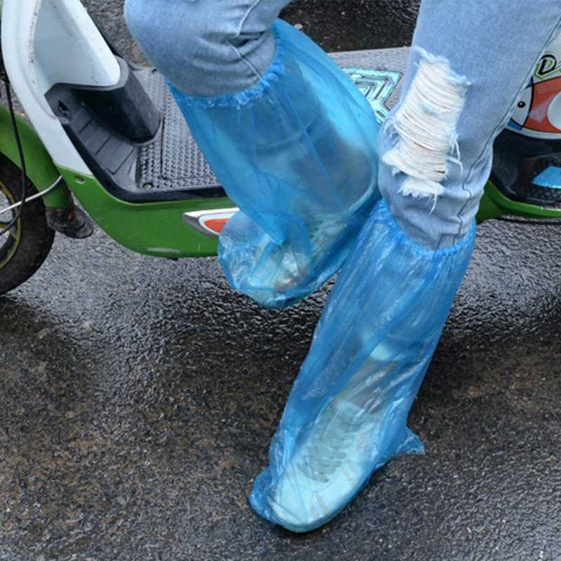 NEW 1Pair Durable Waterproof Thick Plastic Disposable Rain Shoe Covers High-Top Boot