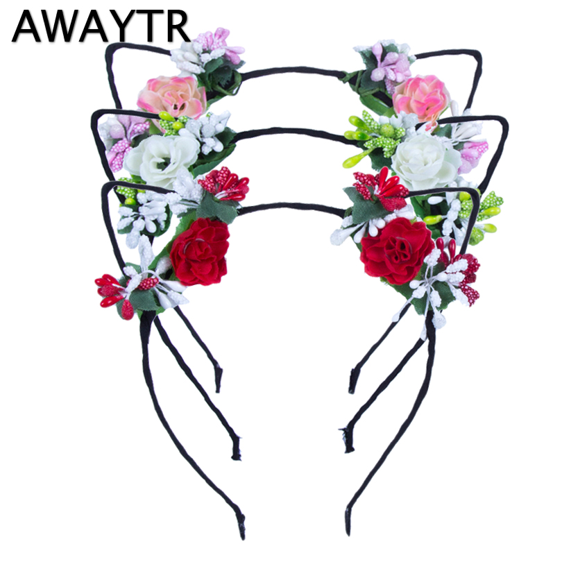 AWAYTR Cute Cat Ears Hairband for Women Girls Flower Headwear Rabbit Ear Hairband Halloween Hair Accessories Party Wedding fluffy cosplay halloween party cat faux fox fur ears costume hairpin hairband black white purple leopard black