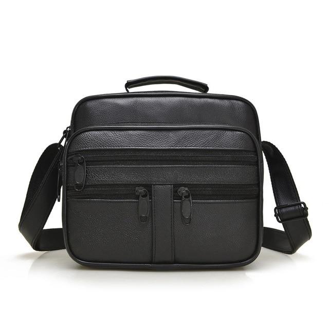 Genuine Leather Business Messenger Bags Men Casual  Shoulder Man Handbags Men Zipper Multi-functional Crossbody Bag