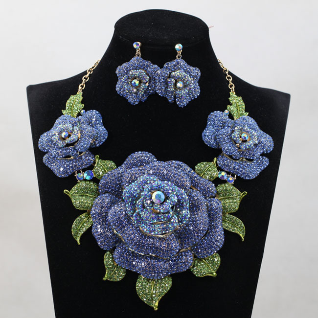 African Nigerian Wedding Jewelry Sets Indian Jewelry Set Big Silver Flower Necklace Earrings Set Women Jewelry African Nigerian Wedding Jewelry Sets Indian Jewelry Set Big Silver Flower Necklace Earrings Set Women Jewelry Set WC003