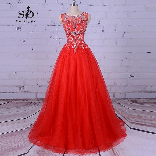 SoDigne Balo Elbiseleri 2018 Red Tulle Dress Crystals Prom Dresses ...