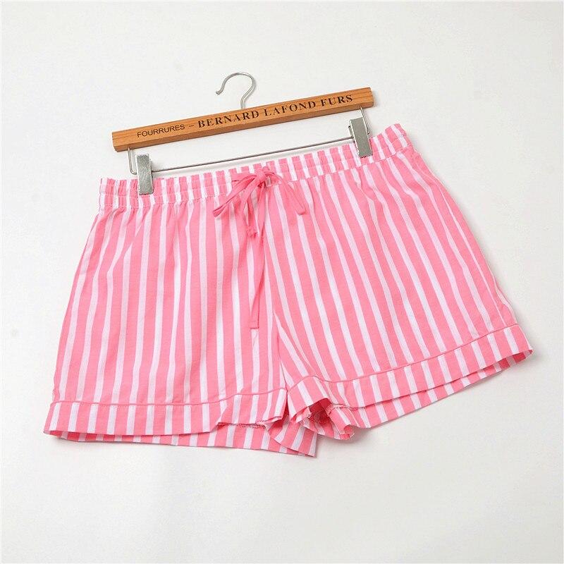 Женские штаны для сна, летняя хлопковая тонкая Пижама, штаны в полоску, дамские штаны для сна, свободные шорты - Цвет: Pink fruit