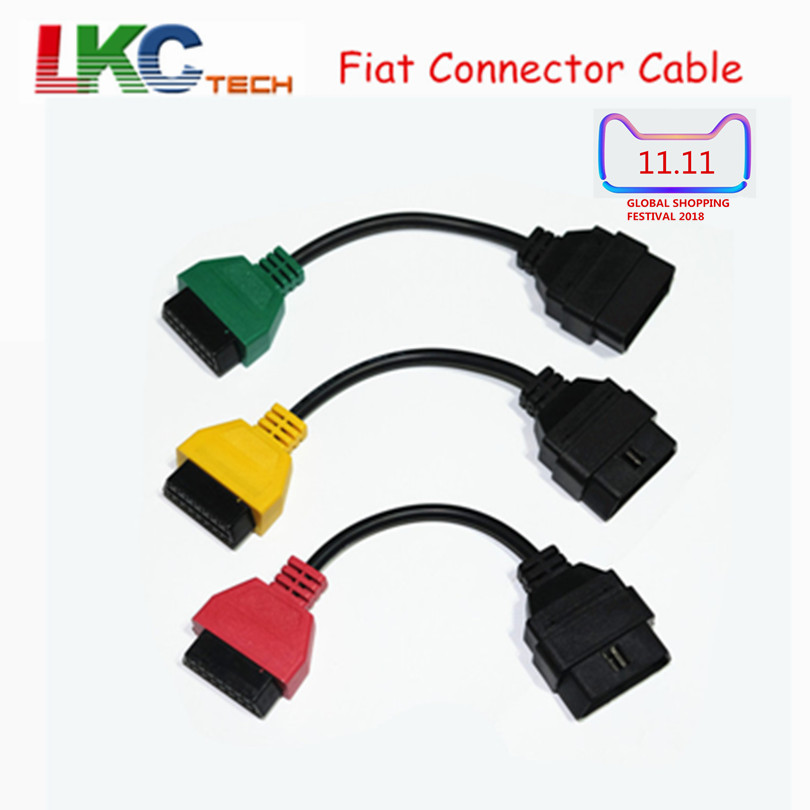2018 Best For Fi-a-t Ecu Scan Adaptor Connector 16pin OBD2 OBD Cable Adatper for F-i--at Three Colors (3 Pieces/ Set)