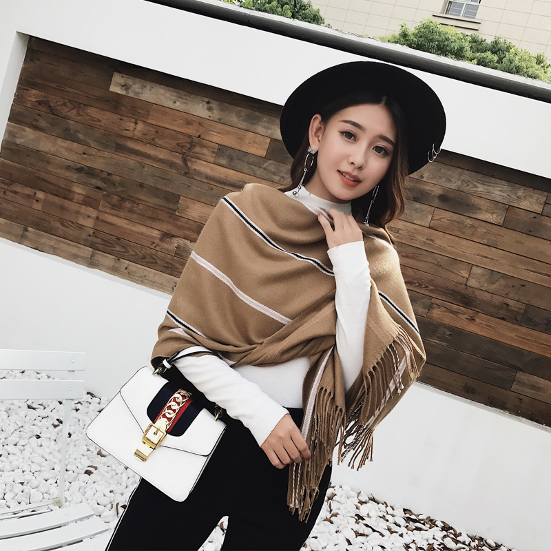 Scarves Women 2018 Striped women shawl winter Double sided Thickening Warm Retro Folk New Style Tassel Shawl Dual purpose in Women 39 s Scarves from Apparel Accessories