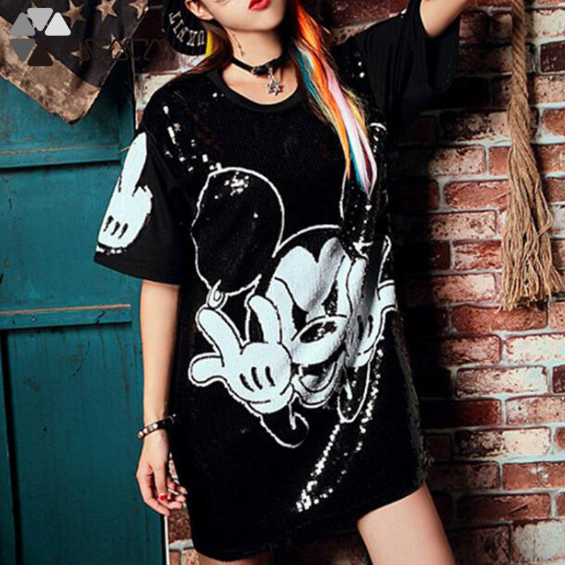 Women Summer Plus Size Dress Short Sleeve Streetwear Casual Loose O-Neck Minnie Mickey Mouse Sequin Party Club Mini Dresses 17