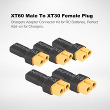5PCS XT60 Male Plug To XT30 Female Plug Adapter For Lipo Battery Connector for RC Models Helicopter Drone Quadcopter Parts 3pcs xt60 female to male ec5 style w 14awg silicone wire connector adapter cable converter for rc charger quadcopter