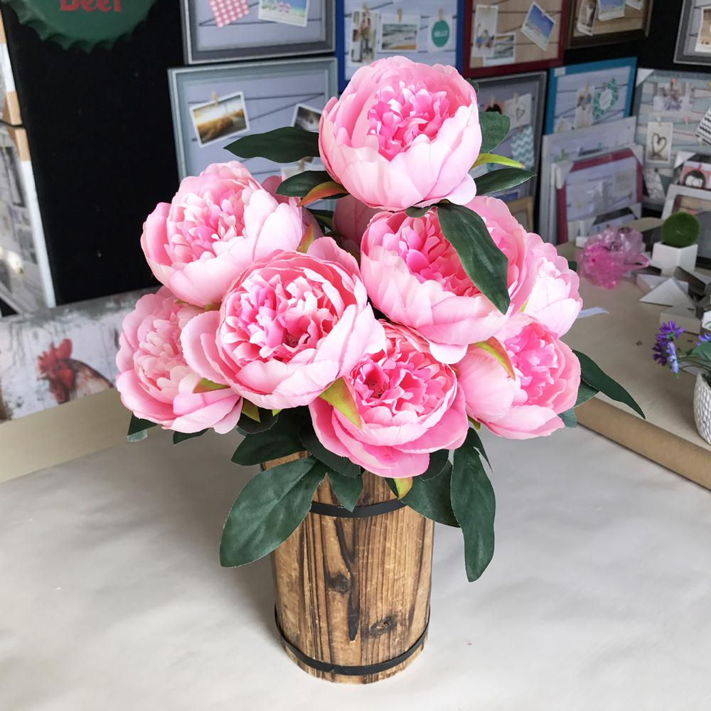 10 Head Silk Flower Wedding Bouquet Peony Artificial Flowers Peony