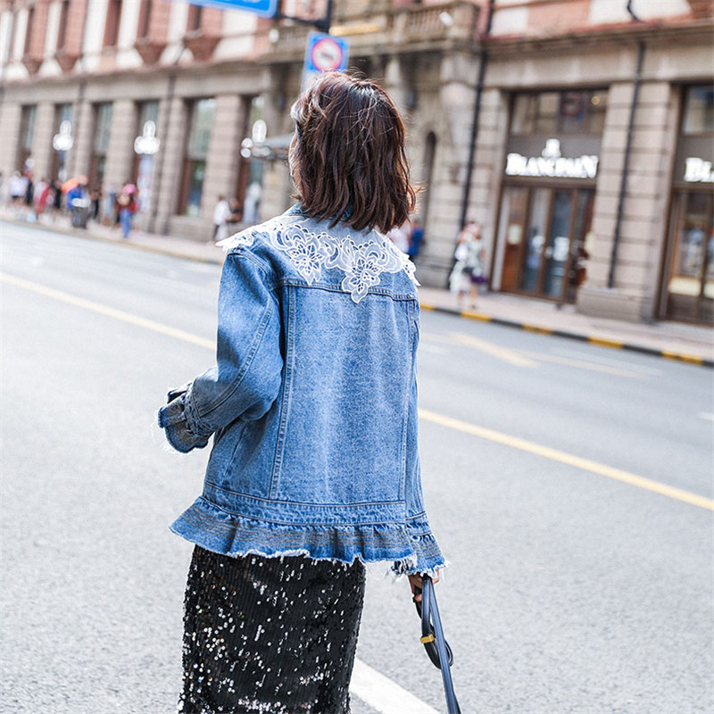Denim Jacket Women 2019 Spring Fashion New Loose Coat Single Breasted Slim Ruffled Lace Embellished Denim Outerwear Female WIN77 - 5