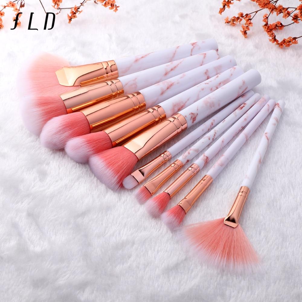 FLD 10 Pcs Professional Makeup Brushes Set Full Function Foundation Eye Powder Fan Blush Brush Makeup Tools Brushes Set Kit