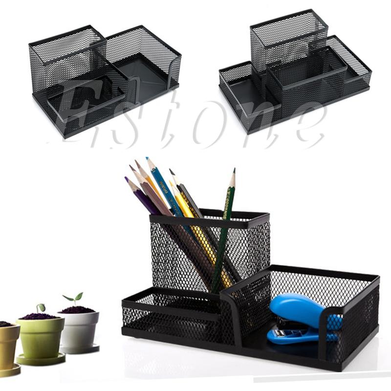 Desk Organizer Metal Black Mesh Style Desktop Office Pen Pencil Holder Storage Classy W15