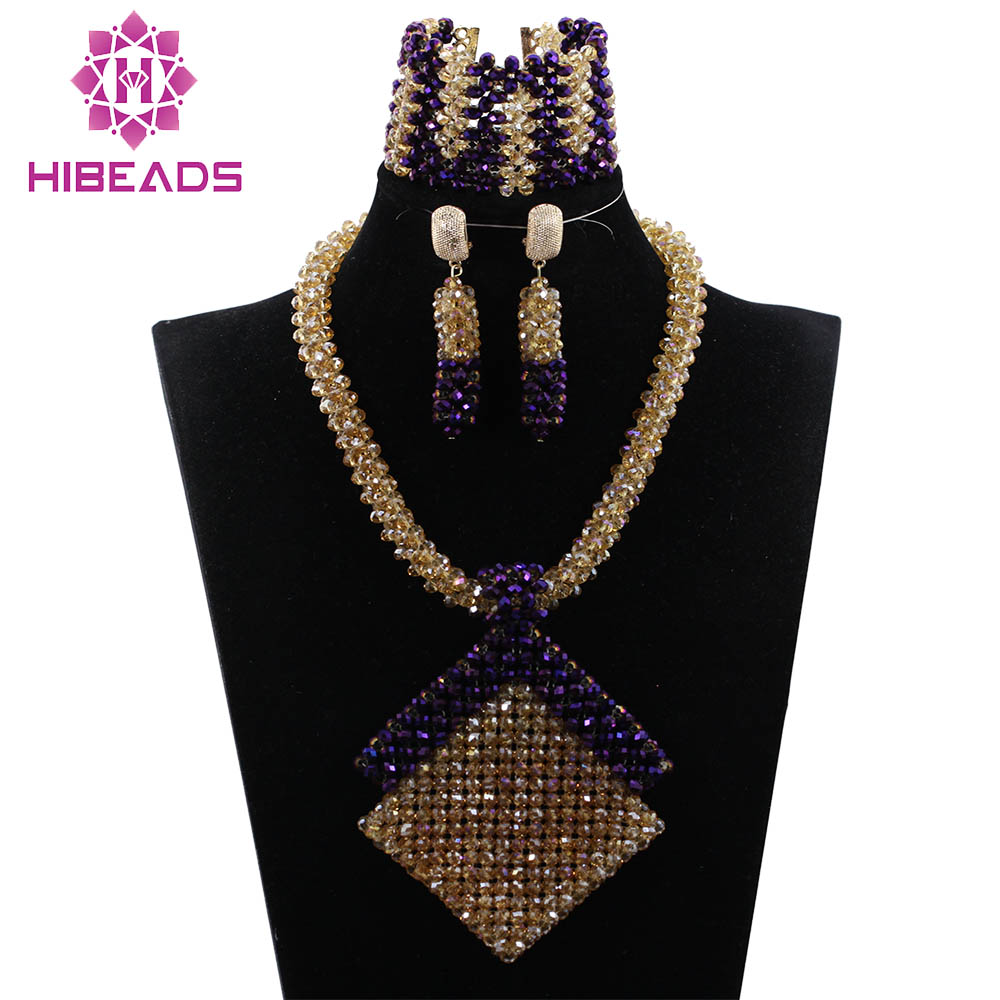 New Design African Party Jewelry Set Fashion Gold and Purple Crystal Pendant Necklace Set for Women Gift Free Shipping ABH331