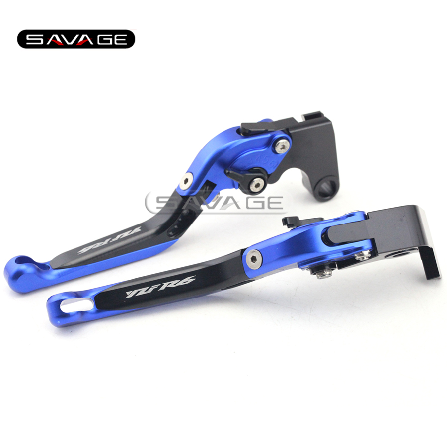 For YAMAHA YZF R6 YZF-R6 2005-2016 Black+Blue Motorcycle Adjustable Folding Extendable Brake Clutch Lever logo YZFR6 1 pair black aluminum motorcycle clutch brake lever motorbike handlebar brake lever for yamaha yzf r6 2005 2008 motorcycle parts