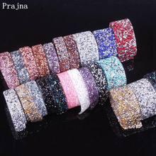 Prajna 1 Yard 1.5cm 3cm Colorful Rhinestone Trim Crystal Motif Strass Hot Fix Rhinestones Tape Applique Ribbon With Clothes Bags
